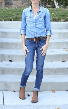 what i wore at the pleated poppy - denim on denim done right! light denim shirt over darker denim skinny jeans, balanced with brown leather belt & booties. casual yet pulled together.