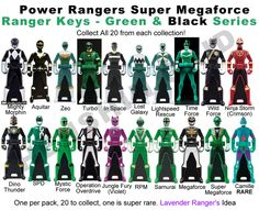I searched for Power Rangers Super Megaforce green ranger keys images on Bing and found this from http://imgarcade.com/1/all-green-power-rangers/
