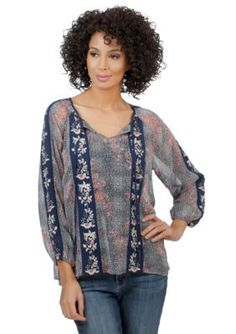 Lucky Brand  Floral Embroidered Peasant Top