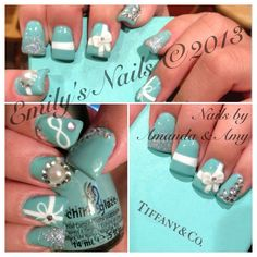Tiffany inspired nail design, including a 3D bow.  Color used: For Audrey by China Glaze