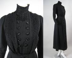 Vintage Antique EDWARDIAN WALKING SUIT Black Herringbone Wool Soutache Lace Bodice Skirt 1900s 1910s Teens Suffragette Titanic Silk Buttons