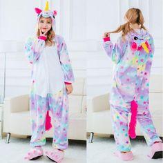 9b03df327a 2018 New Onesie Wholesale Animal Stitch Star Unicorn Kigurumi Adult Unisex  Women Pajamas Hooded Sleepwear Adult Winter Fannel