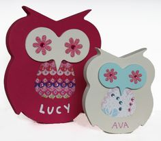 Wooden name plaques personalised free standing owls for kids, baby, gifts birthdays, christmas, christening