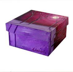 Magenta Sky Landscape, Jewelry Storage Box, Hand Painted Box, Magenta Box, Landscape Box