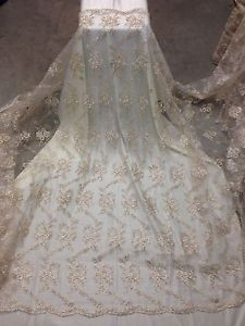 IVORY-MESH-W-METALLIC-COREDED-FLORAL-EMBROIDERY-BRIDAL-LACE-FABRIC-50-WIDE-1-YD