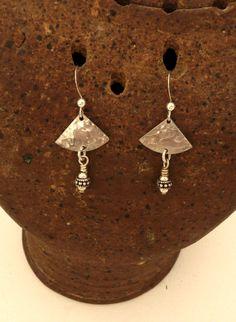 Hammered Sterling Silver Dangle Earrings by MeAndMyMansJewelry on Etsy