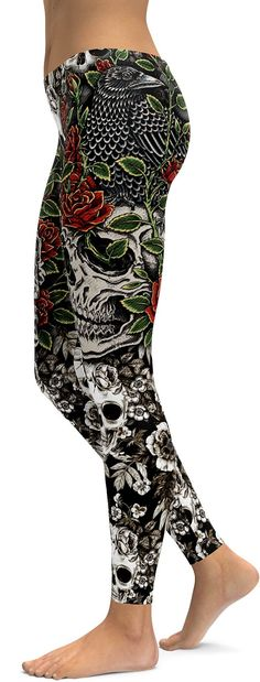 Rock these Skulls & Roses Leggings – a mix of rock 'n roll with a feminine touch. The fabric is sturdy, yet lightweight and breathable, and stretches to fit your body, hugging it in all the right plac
