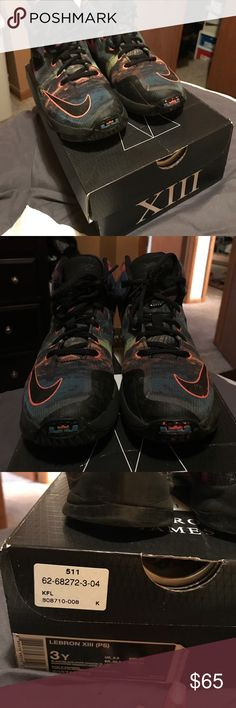 LeBron XIII good used condition My daughter outgrew them they are in good condition. Comes with box retails at $90 size 3 in boys Nike Shoes Sneakers
