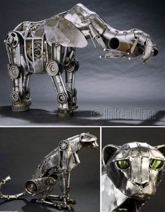 Strange sci-fi creatures come to life with the use of skeletons, vacuum parts, watch gears and other found objects in these 36 steampunk animal sculptures.