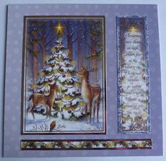 Deer Christmas Card Christmas Tree Card Deer Handmade Card #handmadechristmas #handmadecard #etsy #deercard #christmascard #christmastreecard #beautifulcard