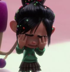 No! I can't believe you destroyed Vanellope's kart and you made her cry! How could you, Ralph! You really are a bad guy! :(