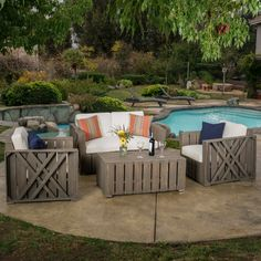 Features:  -Set includes 2 club chairs, 1 loveseat and 1 table.  -Material: Acacia wood and 100% Polyester.  -Decorative accessories are not included.  Number of Items Included: -4.  Style (Old): -Rus