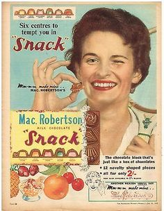 "Original ""SNACK"" MAC.ROBERTSON AD 1950s Australian Vintage Print Advertising SSV"