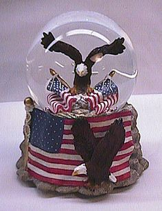 Angel Snow Globe Music Box | Musical American Eagle Waterglobe #14080 - SOLD OUT