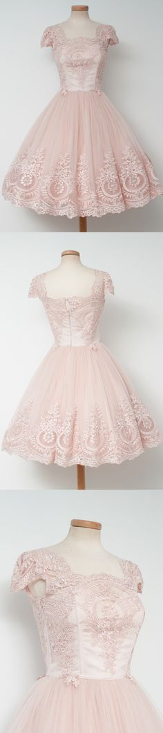 Cap sleeve homecoming dress, light pink homecoming dress, lace/applique homecoming dress, lovely junior homecoming dress, PD15134