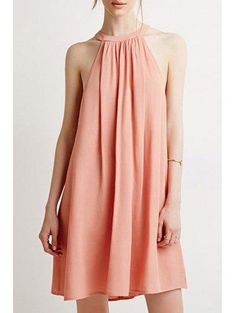 Zaful - Zaful Round Neck Sleeveless Light Pink Dress - AdoreWe.com