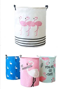 Flamingo Design Folding Laundry Storage Bin - Just Pink About It Flamingo Decor, Pink Flamingos, Flamingo Hotel, Flamingo Gifts, Decorative Storage Bins, Storage Baskets, Storage Boxes, Folding Laundry, Laundry Storage