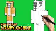 How to draw Stampylongnose Minecraft - Easy step-by-step drawing lessons...