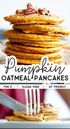 Pumpkin Oatmeal Pancakes are an easy, delicious and healthy breakfast idea for fall. Serve them with Greek yogurt to dip in - the kids will love it! This recipe is Trim Healthy Mama friendly (THM E). Thm Recipes, Baby Food Recipes, Cooking Recipes, Smoothie Recipes, Low Fat Vegan Recipes, Trim Healthy Recipes, Blender Recipes, Jelly Recipes, Yogurt Recipes