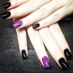 Purple Glitter with Black Nails...