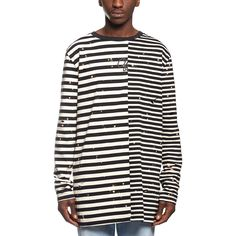 Striped LS tee from the F/W2016-17 Off-White c/o Virgil Abloh collection in black and white