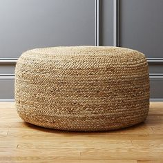 Spontaneous seating rounds out the room in coiled braids of light and natural jute. Dense poly-fill makes pouf sturdy for seat/ottoman duty. Or, top it with a tray when guests pop in. braided hemp jute pouf is a exclusive. Decoration Ikea, Decoration Design, Floor Pouf, Floor Cushions, Sisal, Decor Scandinavian, Ottoman In Living Room, Living Rooms, Jute