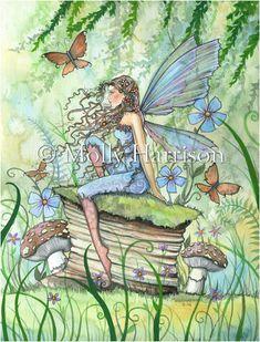 Disponibilité de jardin - aquarelle fleur fée Illustration Fine Art giclée Print - Molly Harrison Fantasy Art