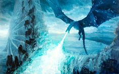 Game of Thrones - the Ice Dragon Ice Dragon Game Of Thrones, Game Of Thrones Dragons, Got Dragons, Game Of Thrones Art, Black Castle, Game Of Trones, Dragon Games, Zombie Art, Wings Of Fire