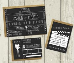 Hollywood-Wedding-Invitation-(Black)-by-Little-Joy-Designs