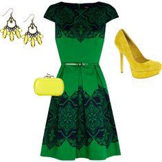 Green dress / Yellow accessories