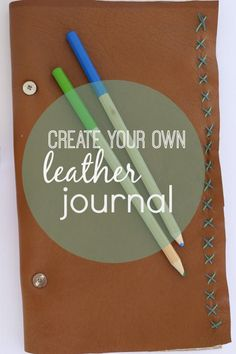 Create a leather journal. A great DIY project for yourself, or for a gift… Diy Leather Goods, Leather Craft, Decor Crafts, Diy Crafts, Christian Wall Decor, Tampons, Leather Journal, Bookbinding, Diy Tutorial