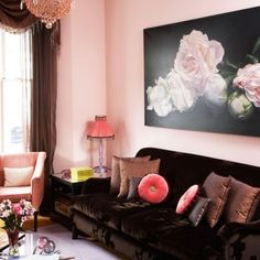 Pink and Brown Living Room--nice rose photo! Romantic with the roses, modern with the clean background.  Or maybe it's a painting, hard to tell.