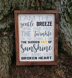 I Am The Gentle Breeze memorial/remembrance framed wood sign