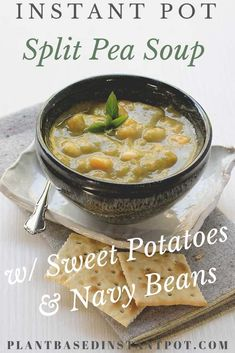 I love having soup for dinner. It's easy to make even after a tiring day. My Vegan Instant Pot Split Pea Soup is an inexpensive meal that you can make with simple ingredients you have in your pantry. It's made heartier with some nave bean Vegan Split Pea Soup, Split Pea Soup Recipe, Vegan Slow Cooker, Pressure Cooker Recipes, Pea Recipes, Whole Food Recipes, Soup Recipes, Vegan Soups, Vegetarian Recipes