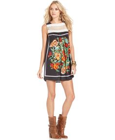 Free People Dress, Sleeveless Boatneck Lace Floral-Print A-Line - Womens Free People