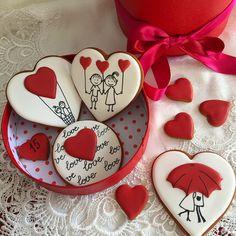 Ideas Cupcakes Decorados Dia Dos Namorados For 2019 Cookie Icing, Royal Icing Cookies, Cupcake Cookies, No Bake Sugar Cookies, Fancy Cookies, Valentines Day Cookies, Valentine Cookies, Minnie Mouse Cookies, Cookies Decorados