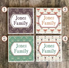 Drink Coasters, Personalized Family Name in Hipster Style, Ceramic Tiles, Housewarming Gift, Wedding, Choose Your Style and Send Us Name  $7.50 #hipster #coasters #personalizedgift #familyname