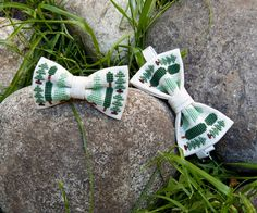 Adult and kids embroidered Bow-Ties with trees - Forest Bow Ties for dad and son - Bow Tie with cross-stitch - Hipster bowties wuth trees