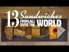 How many sandwiches from around the world do we actually know? Some have international reputations, like the panini or the croque monsieur. Some are definite. Types Of Sandwiches, National Sandwich Day, Lunch Room, Delicious Sandwiches, Exotic Food, Food Pictures, Food Videos, Food Porn, Sandwich Recipes