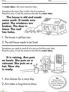 1st or 2nd Grade Main Idea Worksheet about Storms | Awesome ...