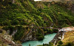 Download wallpapers New Zealand, 4k, suspension bridge, mountains, river