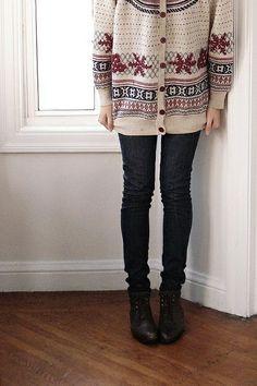 fair isle sweater + skinny jeans Cozy xmas gear