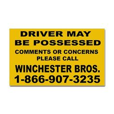 How's My Driving Rectangle Car Magnet by waywardson - CafePress Supernatural Party, Supernatural Merchandise, Supernatural Birthday, Supernatural Poster, Bumper Stickers, Custom Stickers, Bitch, Thing 1, Car Magnets