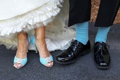 blue groom socks, blue bride shoes
