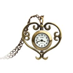 Antique Heart Necklace Pendant Quartz Pocket Watch