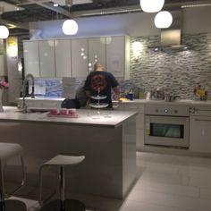 Ikea kitchen love the backsplash n island
