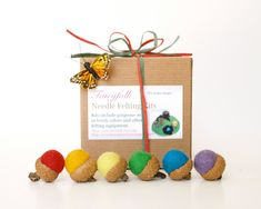Fun art project!  Rainbow Felted Acorn Kit, Learn how to make your own diy colorful wool acorns Fairyfolk Christmas Gift