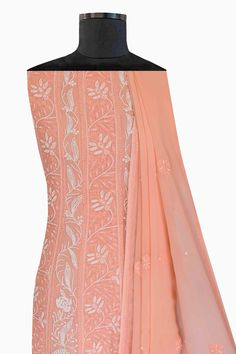 Light Peach Viscose Georgette Anarkali kurta dupatta offers a comfortable and relaxed silhouette to the wearer, the fabric and embroidery is skin friendly. Disclaimer: This product is hand embroidered and may have slight dissimilarities that are a natural outcome of the human involvement in the process. These minor variations of Stitches/Motifs add to its charm and ensure you have a unique product. Shop now +8795160153 via WhatsApp or Call