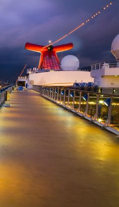 Upper deck on a Carnival cruise ship at night