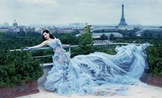 Blue Formal Gown In Paris.